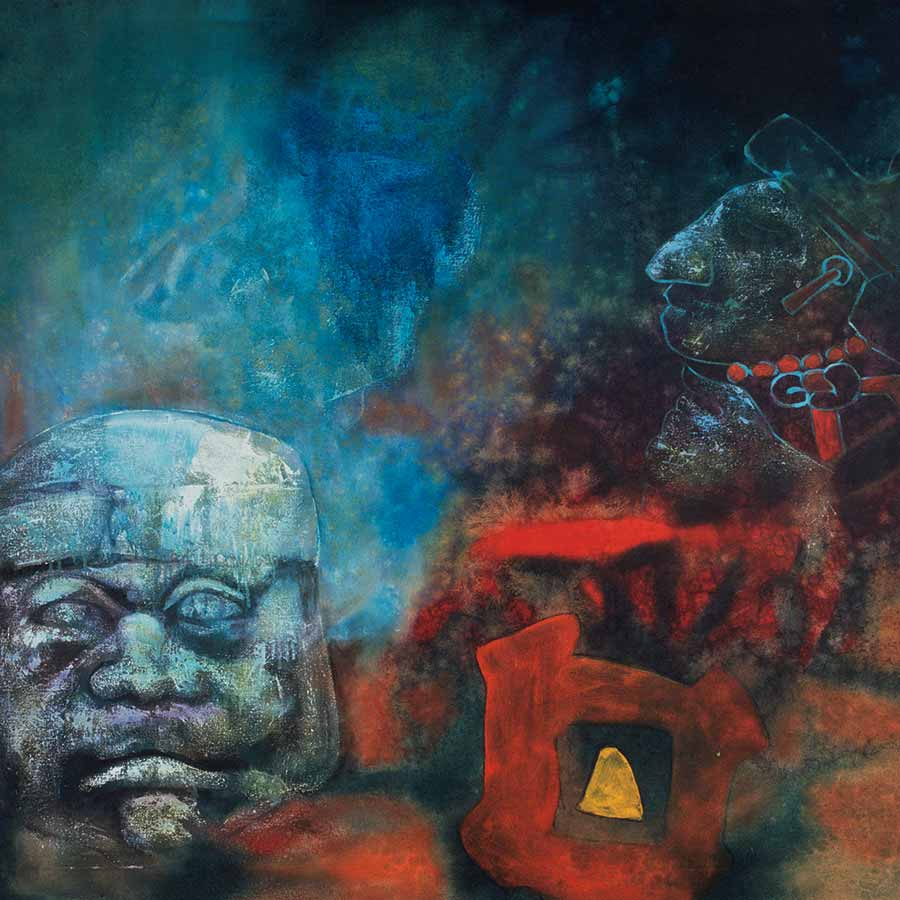 <strong>Aubrey Williams</strong> <em>Night and the Olmec</em>, 1983. Oil on canvas, 126 x 185 cm.