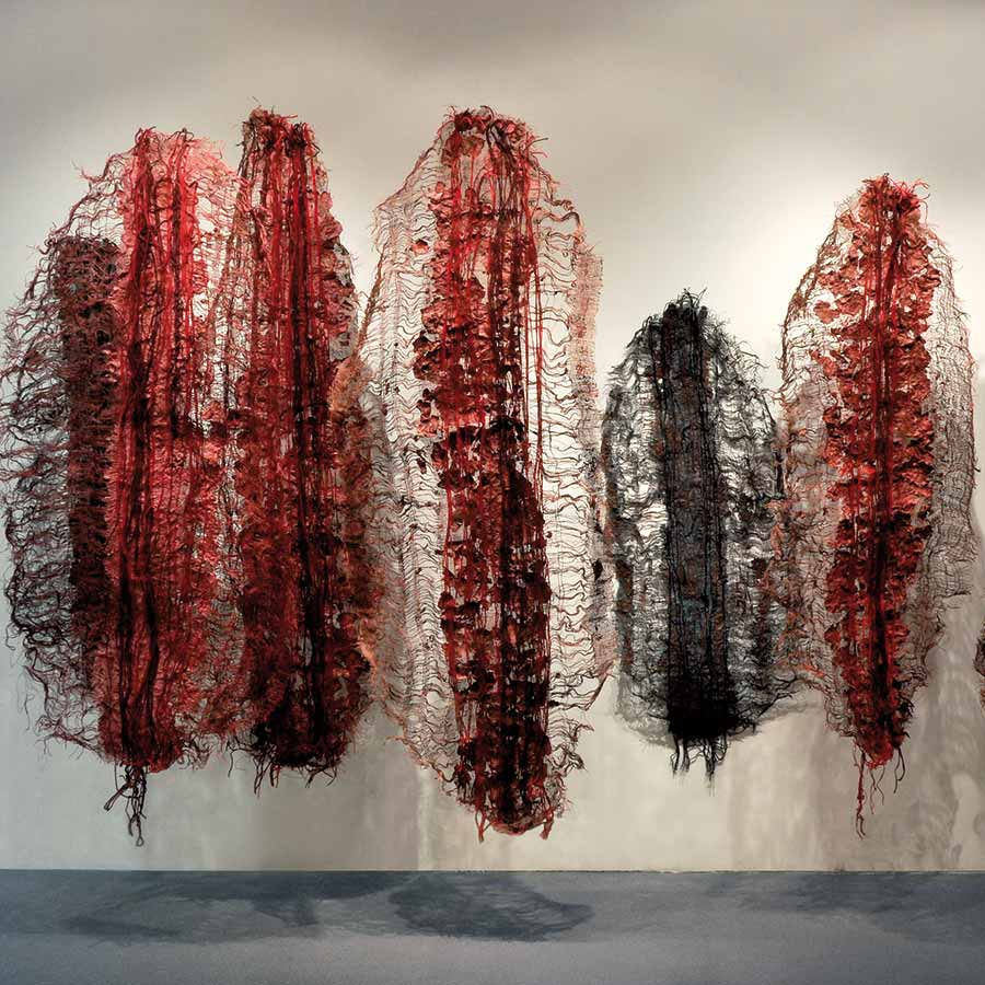 <strong>Nnenna Okore</strong>, <em>Emissaries</em>, 2009. Handmade paper, dye, burlap, jute rope and yarn, varied dimension approx. 274 x 366 cm.