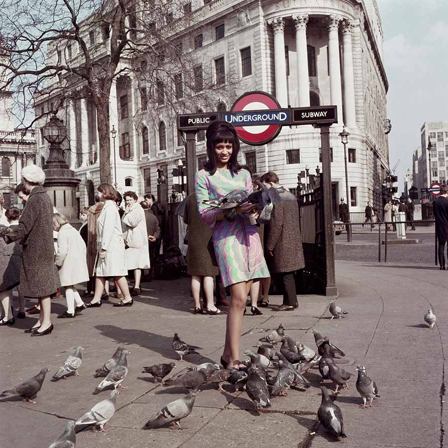 <strong>James Barnor</strong> (detail), <em>Drum cover girl Marie Hallowi at