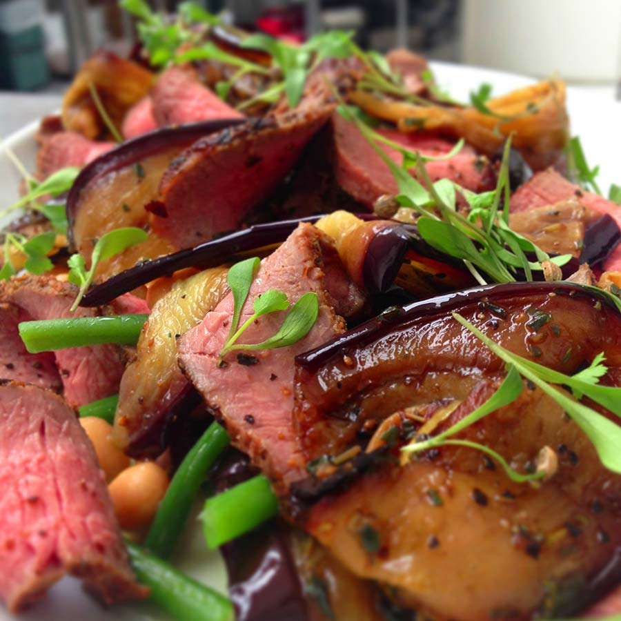 <em>Lamb, Aubergine,Fine Bean and Chick Pea Salad</em>