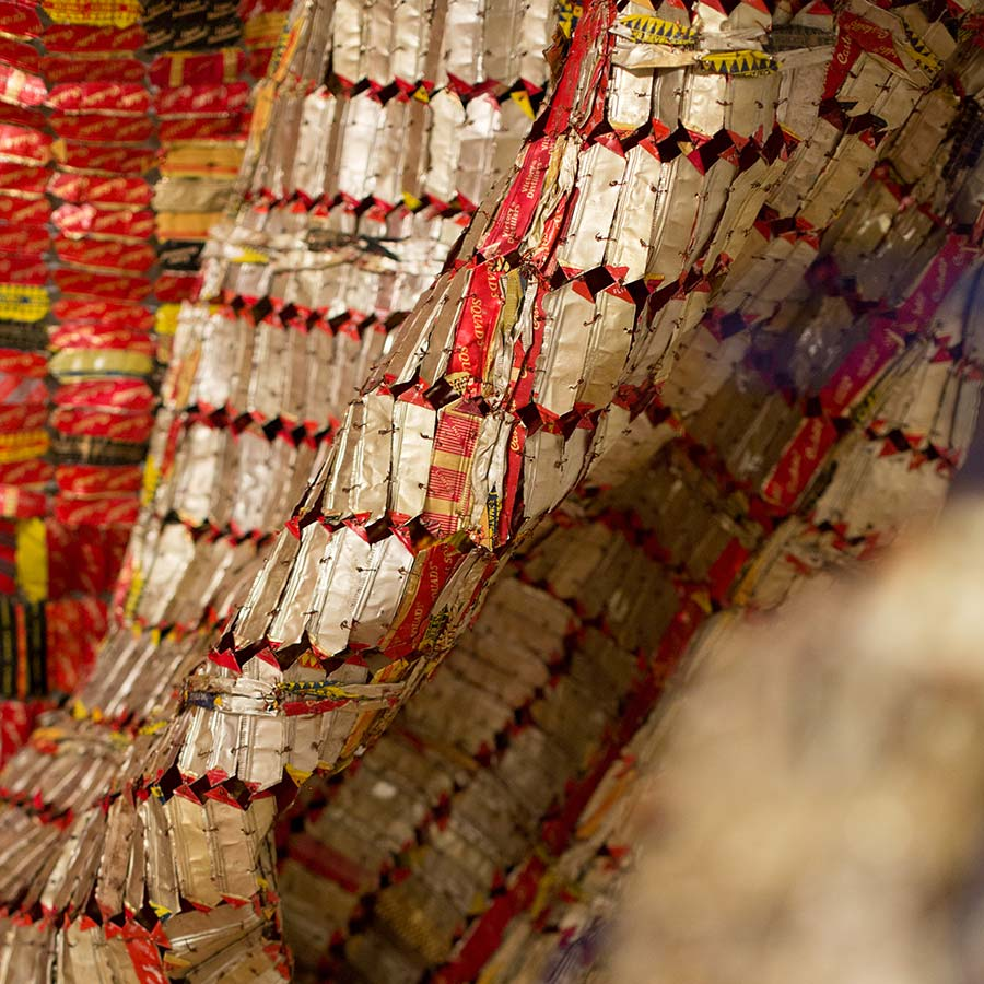 <strong>El Anatsui</strong>, <em>AG + BA</em> (detail), 2014. Aluminium, copper wire and nylon rope, Dimensions variable.