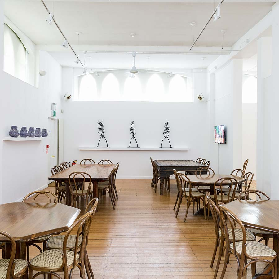 Refectory installed with the exhibition <strong>RACHID KORAÏCHI:<strong> <em>Les Maîtres du Temps (Masters of Time)</em>, 2018.
