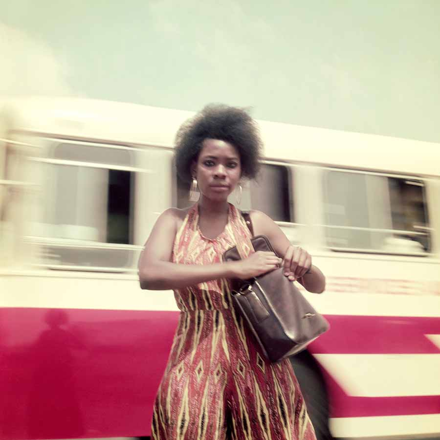 <strong>James Barnor</strong>, <em>AGIP Calendar Model</em> (detail), 1974. Lambda print, 48 x 48 cm.