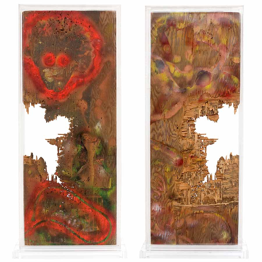 <strong>William S. Burroughs</strong>, <em>Ten Gauge City</em> (detail), 1988. House paint on wood panel with gunshot holes in a plexi-glass case, 102 x 46 x 18 cm.